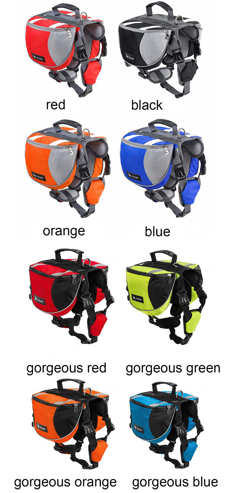 Dog Backpack Saddle Bag for Small Medium Large 8 Colors | Ego-Silencer