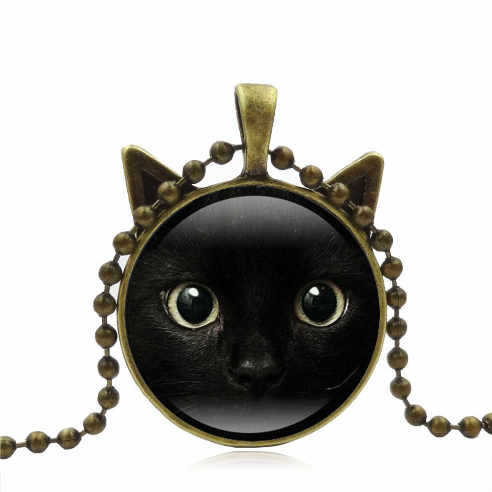 3 Colors Chain Black Cat Picture Vintage Necklace | Ego-Silencer