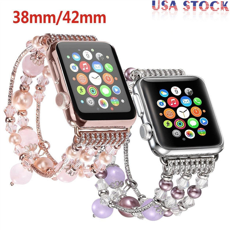 Handmade Elastic Stretch Beaded Agate Natural Stone Bracelet Replacement for Apple Watch | Ego-Silencer