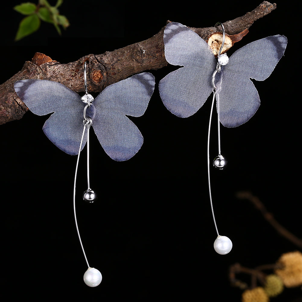 925 Sterling Silver Dangle 2 Colors Earrings Insect Butterfly Simulated Pearl | Ego-Silencer