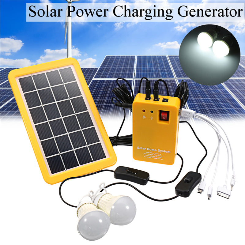 1 Set Solar Power Panel Generator LED Light Bulbs 5V USB Charger | Ego-Silencer