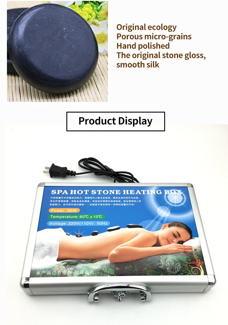 16pcs/lot Body Massage Lava Natural Energy Stones Spa Equipment Set Rock Basalt Hot Stone With Heater Box | Ego-Silence