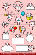 Emoji Clipart Candy Peppermint Character Set - 15 Mascot Poses! Great for Christmas Projects