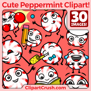 Cute Cartoon Peppermint Candy Clipart Character Set