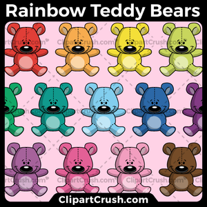 Rainbow Teddy Bear Clipart