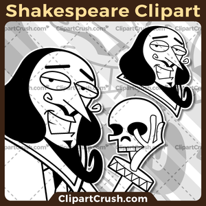 Vector SVG PNG Black & White Shakespeare clipart for teachers, school, kids, businesses or anyone that needs a cool Shakespeare for their Hamlet, Romeo & Juliet, Othello, Writing, Literature projects. Black & white Shakespeare vector line art included. Great for logos, icons, curriculum.