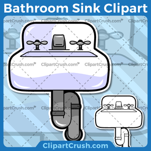 Vector SVG PNG Bathroom Sink clipart for teachers, school, kids, businesses or anyone that needs a cool Bathroom Sink for their projects. Black & white Bathroom Sink vector line art included. Great for logos, icons, curriculum.