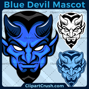 Blue Devils Mascot Logo for your school or team. Black & white line art included. Great for basketball, soccer, football, lacrosse, baseball, or softball sports teams.
