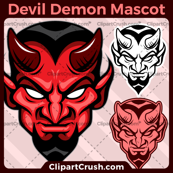 Unique and original SVG PNG Devils Mascot Logo clipart for your school or team. Black & white vector line art included. Great for basketball, soccer, football, lacrosse, baseball, or softball sports teams