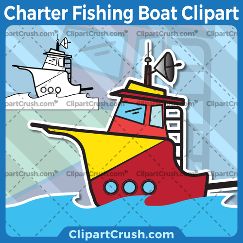 Vector SVG PNG Off Shore Sea Ocean Charter Fishing Boat clipart for teachers, school, kids, businesses or anyone that needs a cool Fishing Boat for their projects. Black & white Fishing Boat vector line art included. Great for logos, icons, curriculum.