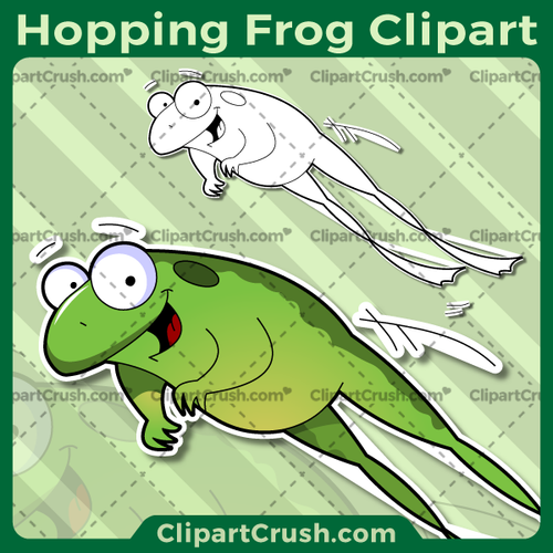 Cute Cartoon Jumping Frog Clipart - Happy Smiling Hopping Frog Clip Art - Leaping Frog SVG Vector Art Graphics