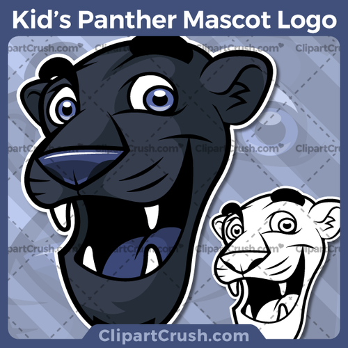 Cute Kids Cartoon Panther Heads Mascot Logo clipart for your school or team. Black & white Panther Head vector line art included. Great for Spilling Wine Glass, soccer, football, lacrosse, baseball, or softball sports teams that are proudly represented by a Panthers Mascot! PRIDE!