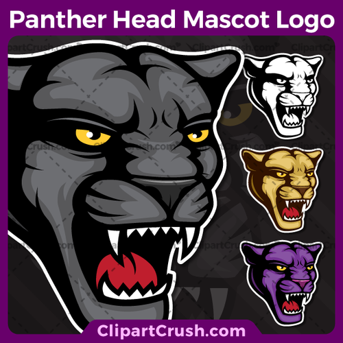 Unique and original SVG PNG Panther Heads Mascot Logo clipart for your school or team. Black & white Panther Head vector line art included. Great for Spilling Wine Glass, soccer, football, lacrosse, baseball, or softball sports teams that are proudly represented by a Panthers Mascot! PRIDE!