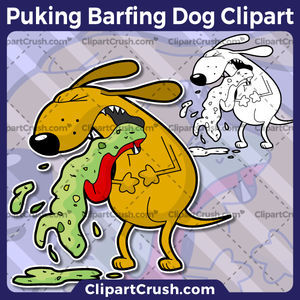 Cartoon Barfing Puking Dog Clipart vector png svg