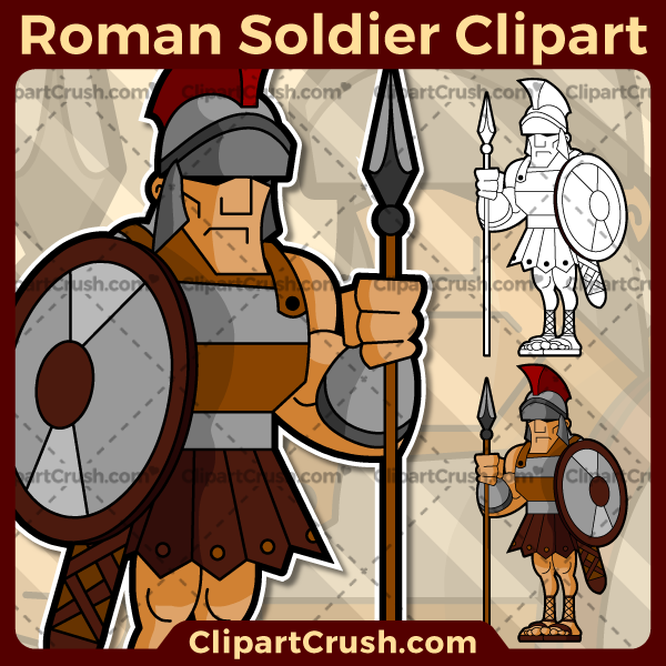 Vector SVG PNG Roman Soldier clipart for teachers, school, kids, businesses or anyone that needs a cool Roman Soldier for their projects. Black & white Roman Soldier vector line art included. Great for logos, icons, curriculum.
