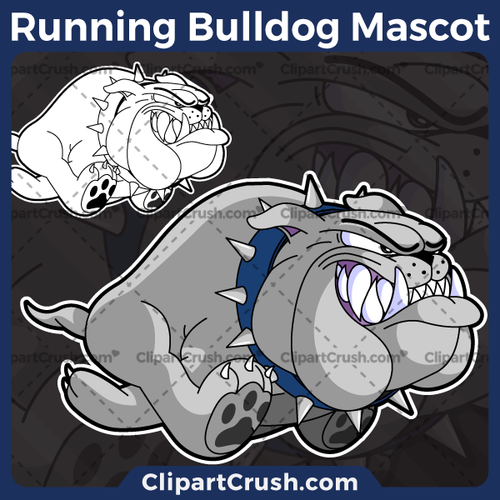 Running Bulldog Mascot Logo - Blue Spiked Collar