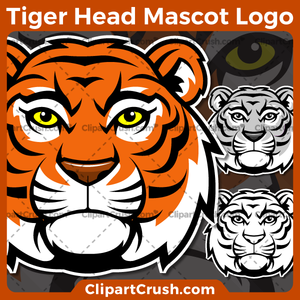 Unique and original SVG PNG Tiger Heads Mascot Logo clipart for your school or team. Black & white Tiger Head vector line art included. Great for Volleyball, soccer, football, lacrosse, baseball, or softball sports teams that are proudly represented by a Tiger Heads Mascot! Eagle PRIDE!