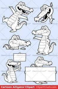 Cute Clipart Alligator Black & White Outlines For Teachers & Kids (B&W)