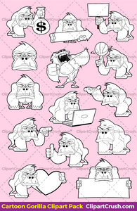 Cute Clipart Gorrilla Black & White Outlines For Teachers & Kids (B&W)