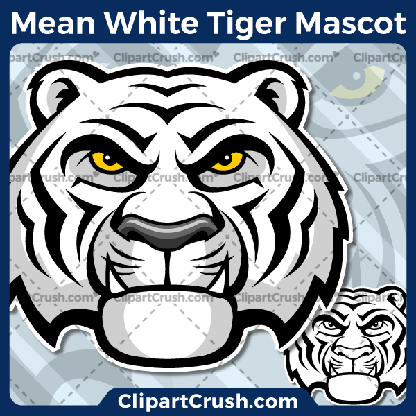 Unique and original SVG PNG White Tiger Head Mascot Logo clipart for your school or team. Black & white White Tiger Head vector line art included. Great for White Tigers soccer, football, lacrosse, baseball, or softball sports teams that are proudly represented by a White Tiger PRIDE!