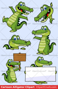 The Best Vector Cartoon Clip art Alligator Mascot Character set for logos, teaching materials and kids of elementary schools. Happy Dancing gator with blank signs and other props.
