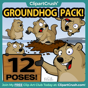Cartoon Groundhog Clipart Pack - Cute Groundhog Day Clip Art