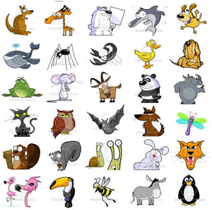 Cartoon Animal Clipart Pack - 60 Cartoon Animals Included