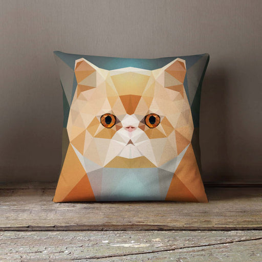 Geometric Persian Cat Pillowcase | Decorative Throw Pillow Cover | Cushion Case | Designer Pillow Case | Birthday Gift Idea For Him & Her