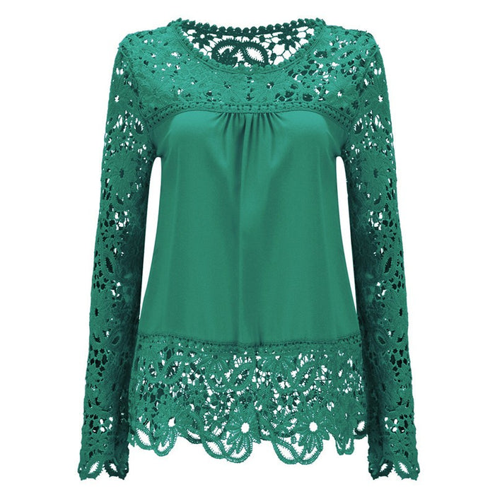 7 Color Women's Lace Up Blouses Popular Shirts