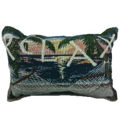 "12"" Sunset Sails Relax Hammock Decorative Tapestry Throw Pillow"
