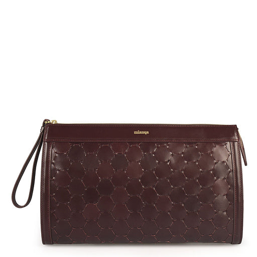 Anqa Leather Clutch | Bordeaux