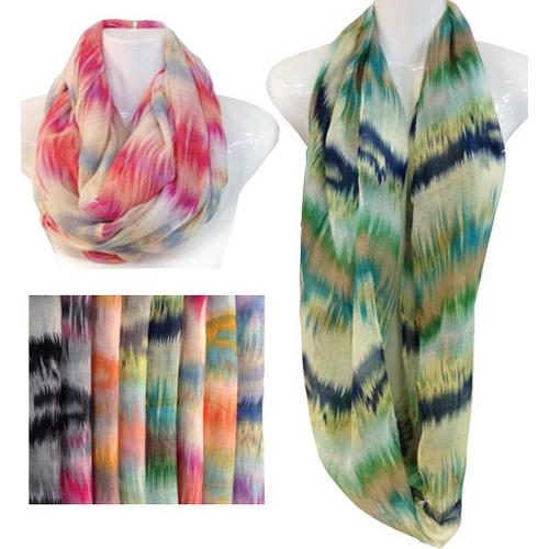Assorted Tie Dye Striped Infinity Scarves