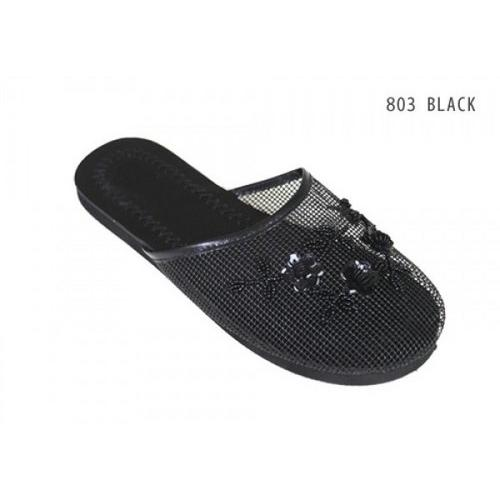 Women's Beaded Mesh Slipper Black Size 5-10