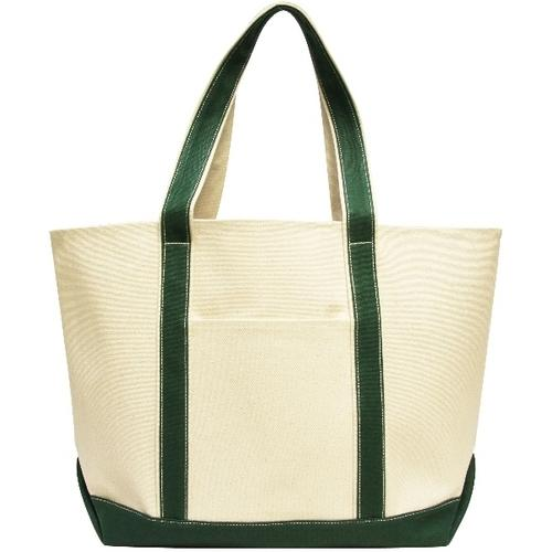 16 Oz. XL Cotton Canvas Carmel Boat Tote - Natural/Red