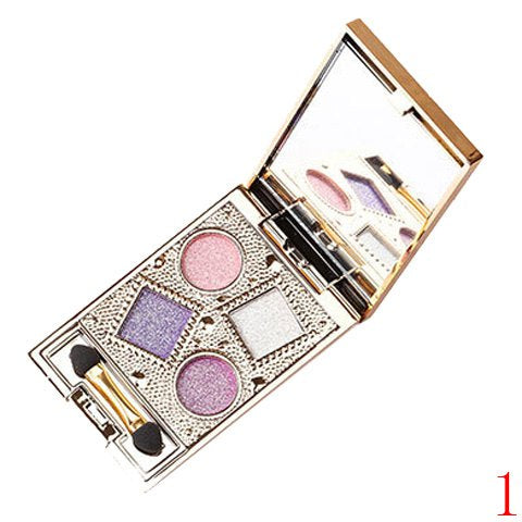 Professional 4 Colours Nude Makeup Sparkly Diamond Eye Shadow Palette with Mirror and Brush - 01