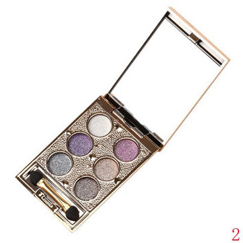 Delicate 6 Colours Sparkly Diamond Earth Tone Eye Shadow Palette with Mirror and Brush - 02