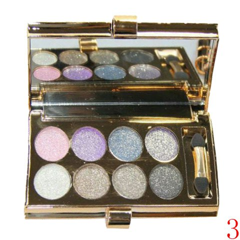 Delicate 8 Colours Sparkly Diamond Earth Tone Eye Shadow Palette with Mirror and Brush - 03
