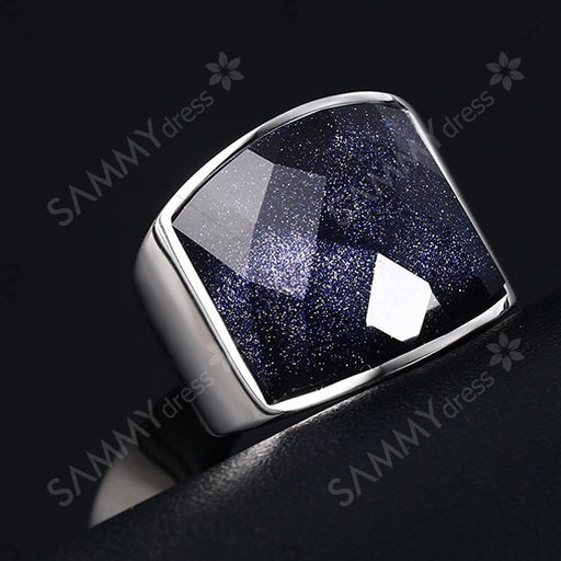 Elegant Stainless Steel and Blue San Embellished Ring For Men - Blue