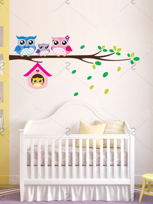 Cartoon Owl Kids Room Removable Wall Stickers - Colorful