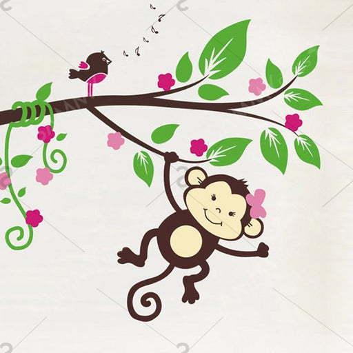 Cartoon Monkey Removable Waterproof Wall Stickers - Colorful