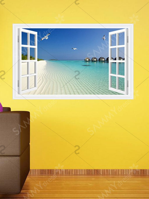 3D Beach Window Design Wall Stickers For Living Room - Lake Blue