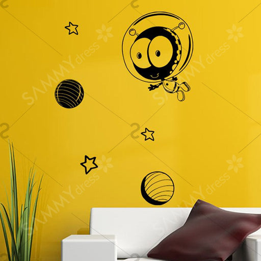 Cartoon Star Pattern Removable Vinyl Wall Stickers - Black