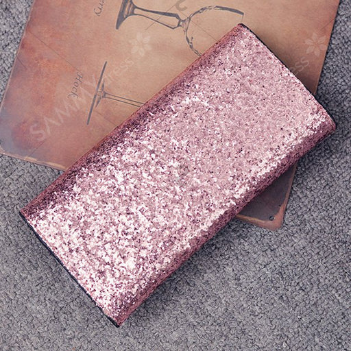 2 Pieces Sequins Embellish Glitter Envelope Wallet - Pink
