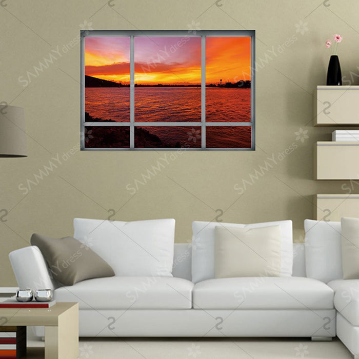 3D Window Sea Sunset Removable Wall Art Sticker - Dark Auburn - 48.5*68CM