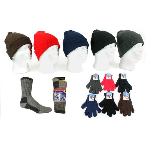 Adult Knit Hat, Magic Gloves & Mens Wool Socks Com