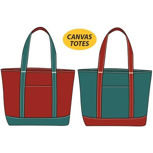"18"" Medium Canvas Tote Bag in Red/Turquoise"
