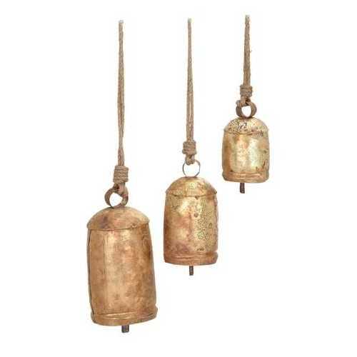Metal Rope Cow Bell Set Of 3 Unique Home Accents