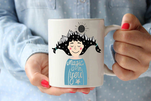 Magic is in You Girl Blue Coffee Mug | Funny Designer Art Inspirational Mug Typography Qoute | Birthday Gift Idea | Motivation Mug | Tea Cup
