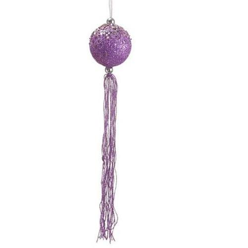 "12"" Regal Peacock Purple Glitter Christmas Ball Ornament with Tassels and Beads"