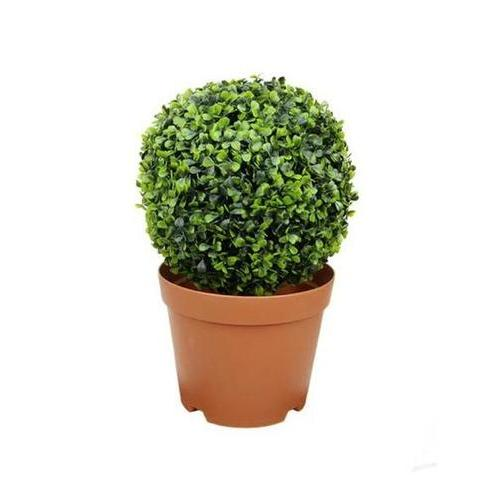 "17.25"" Potted Two-Tone Artificial Boxwood Ball Topiary Plant"